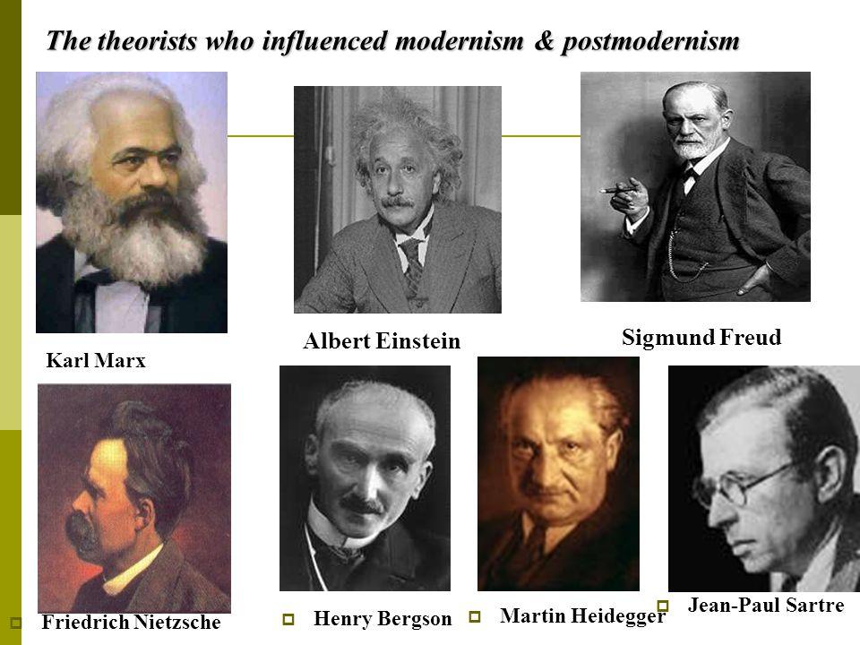 The theorists who influenced modernism & postmodernism Karl Marx Albert Einstein Sigmund Freud  Friedrich Nietzsche  Henry Bergson  Martin Heidegger  Jean-Paul Sartre