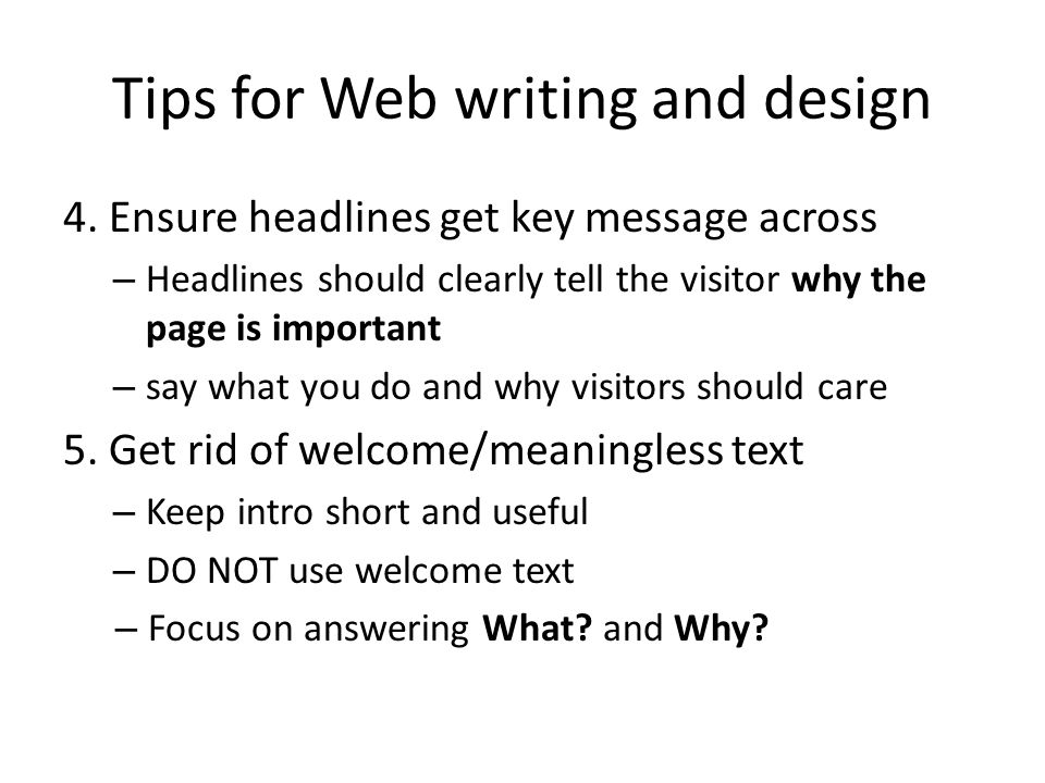 Tips for Web writing and design 4.