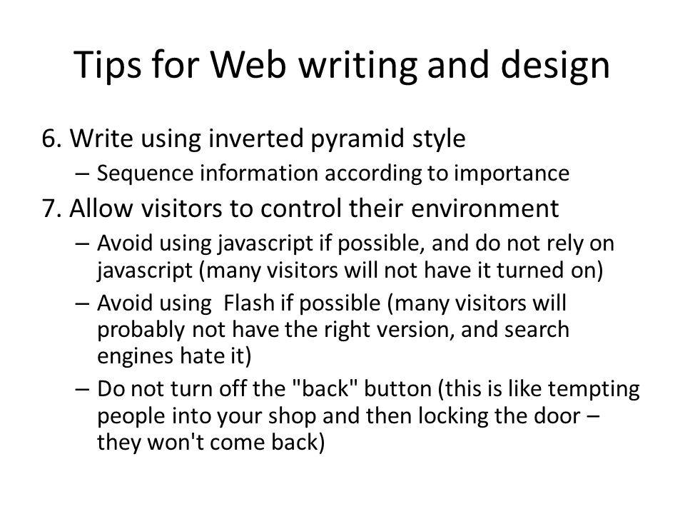 Tips for Web writing and design 6.