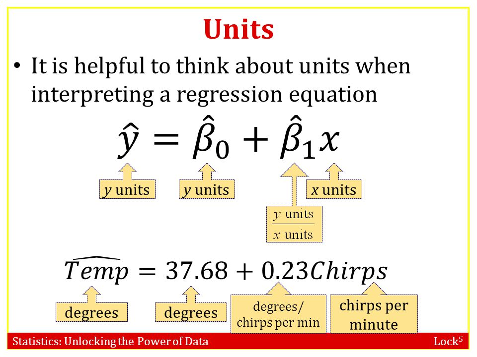 Statistics: Unlocking the Power of Data Lock 5 Units It is helpful to think about units when interpreting a regression equation y units x units degrees chirps per minute degrees/ chirps per min