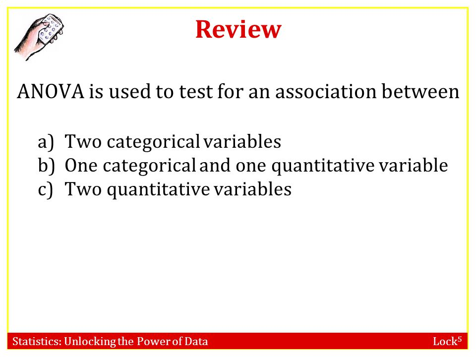 Statistics: Unlocking the Power of Data Lock 5 ANOVA is used to test for an association between a)Two categorical variables b)One categorical and one quantitative variable c)Two quantitative variables Review