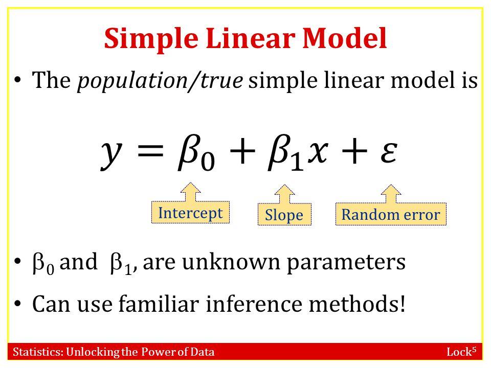 Statistics: Unlocking the Power of Data Lock 5 Intercept Slope Simple Linear Model Random error
