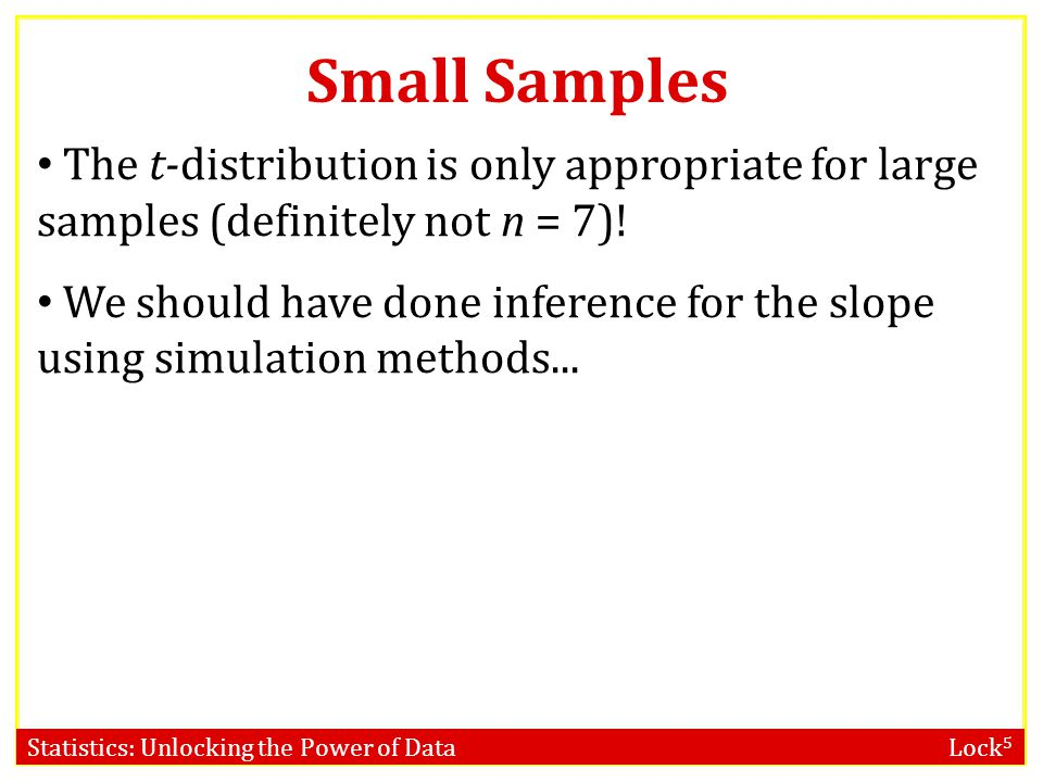 Statistics: Unlocking the Power of Data Lock 5 Small Samples The t-distribution is only appropriate for large samples (definitely not n = 7).