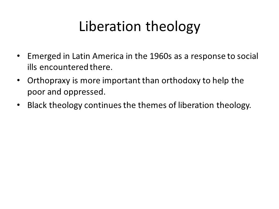 Liberation theology Emerged in Latin America in the 1960s as a response to social ills encountered there.