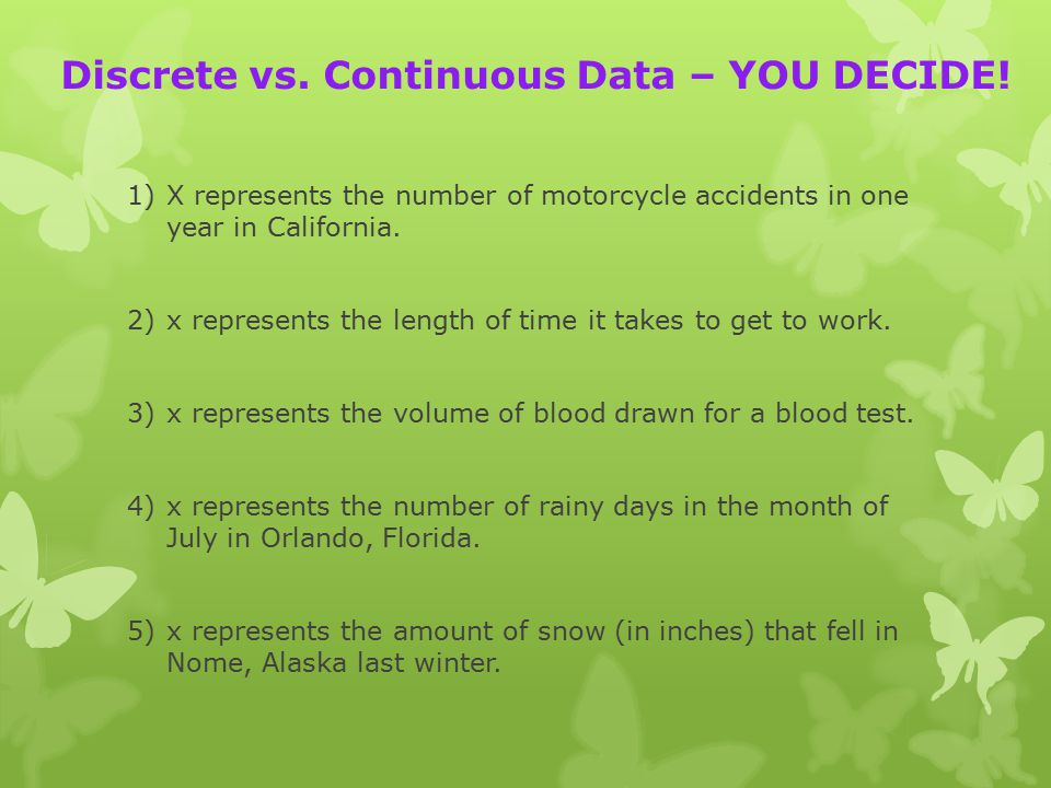 Discrete vs. Continuous Data – YOU DECIDE.