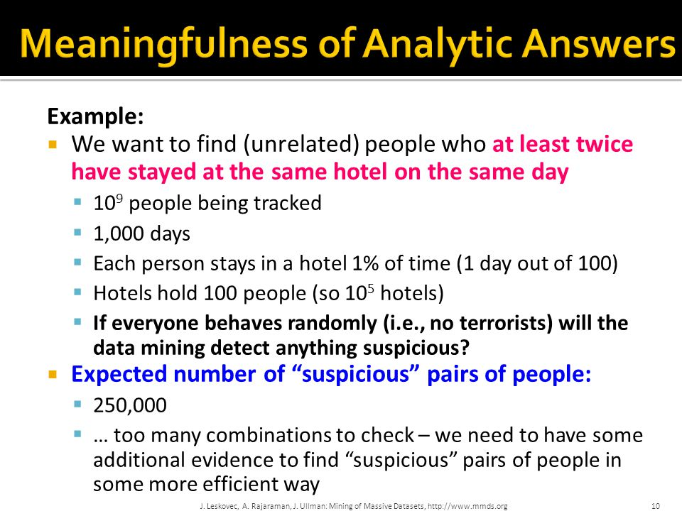 Example:  We want to find (unrelated) people who at least twice have stayed at the same hotel on the same day  10 9 people being tracked  1,000 day