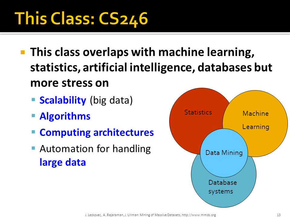  This class overlaps with machine learning, statistics, artificial intelligence, databases but more stress on  Scalability (big data)  Algorithms 