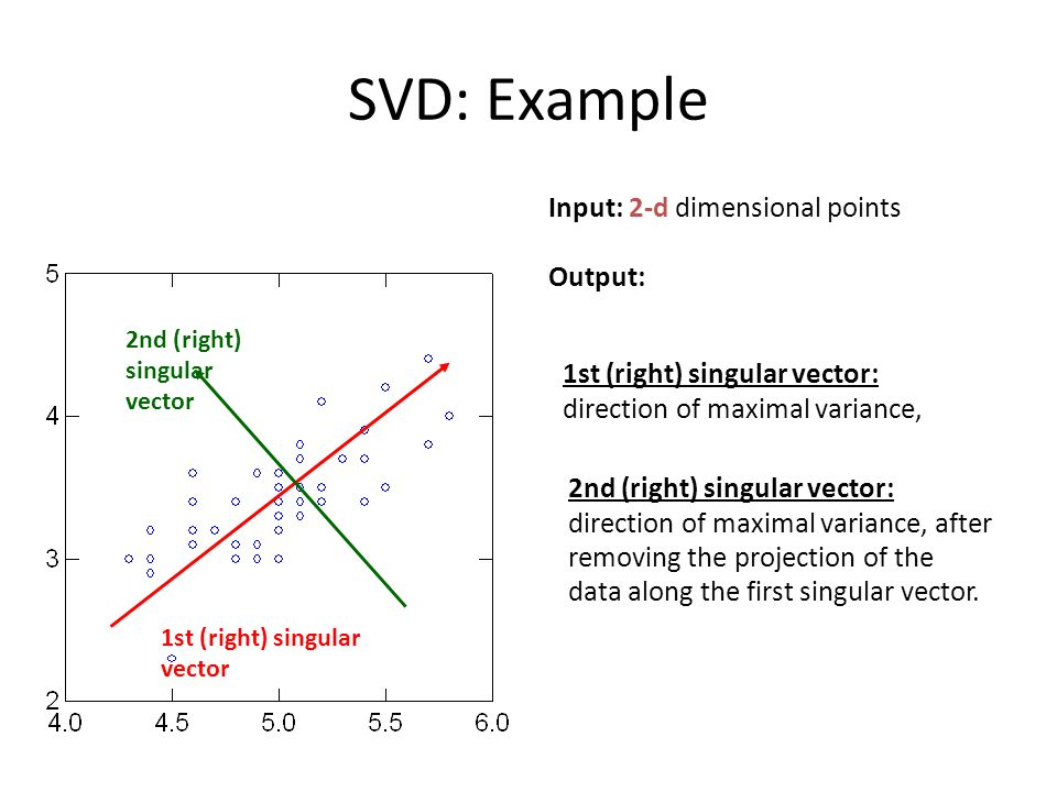 SVD: Example Input: 2-d dimensional points Output: 1st (right) singular vector 1st (right) singular vector: direction of maximal variance, 2nd (right) singular vector 2nd (right) singular vector: direction of maximal variance, after removing the projection of the data along the first singular vector.