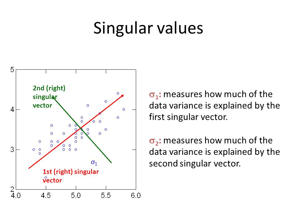 Singular values  1 : measures how much of the data variance is explained by the first singular vector.  2 : measures how much of the data variance i