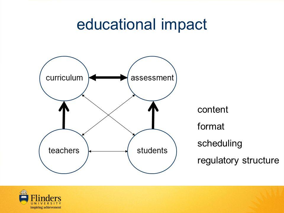 educational impact curriculum teachersstudents assessment content format scheduling regulatory structure