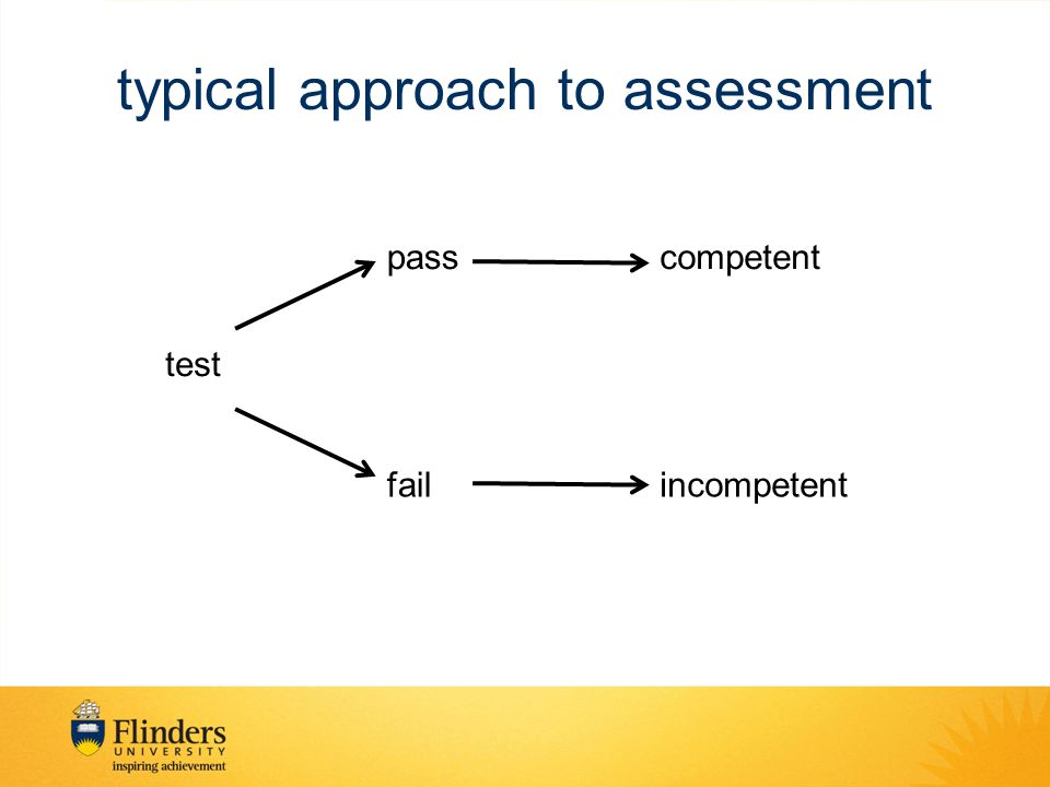typical approach to assessment test pass fail competent incompetent