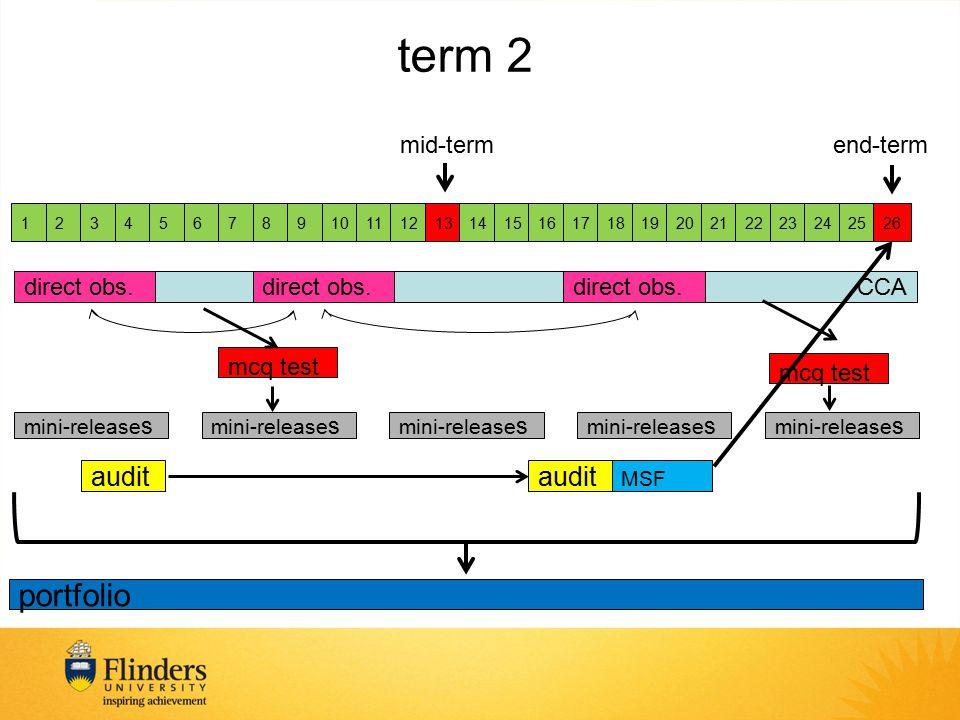 CCA 1234567891011121314151617181920212223242526 direct obs. audit mcq test MSF mcq test mini-release s term 2 mid-term portfolio end-term