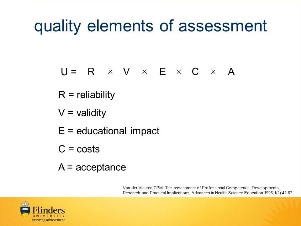U = RVECA  R = reliability V = validity E = educational impact C = costs A = acceptance quality elements of assessment Van der Vleuten CPM. The as