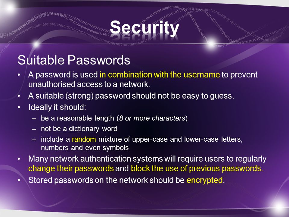 Other methods of security Physical security: CCTV, locks and swipe-card systems etc.