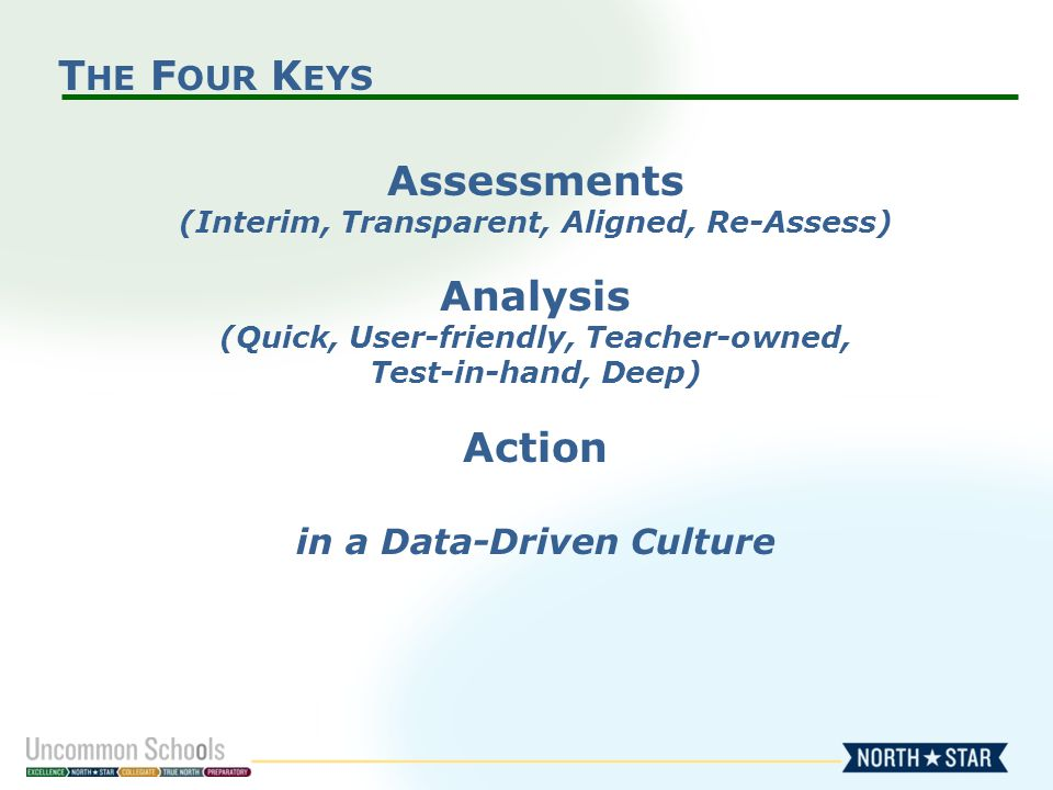 T HE F OUR K EYS Assessments (Interim, Transparent, Aligned, Re-Assess) Analysis (Quick, User-friendly, Teacher-owned, Test-in-hand, Deep) Action in a Data-Driven Culture