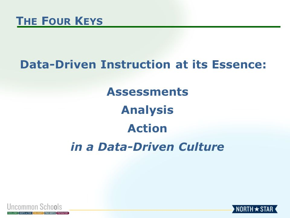 T HE F OUR K EYS Data-Driven Instruction at its Essence: Assessments Analysis Action in a Data-Driven Culture
