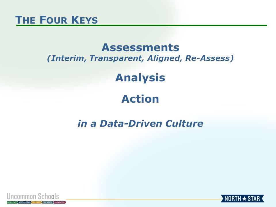 T HE F OUR K EYS Assessments (Interim, Transparent, Aligned, Re-Assess) Analysis Action in a Data-Driven Culture