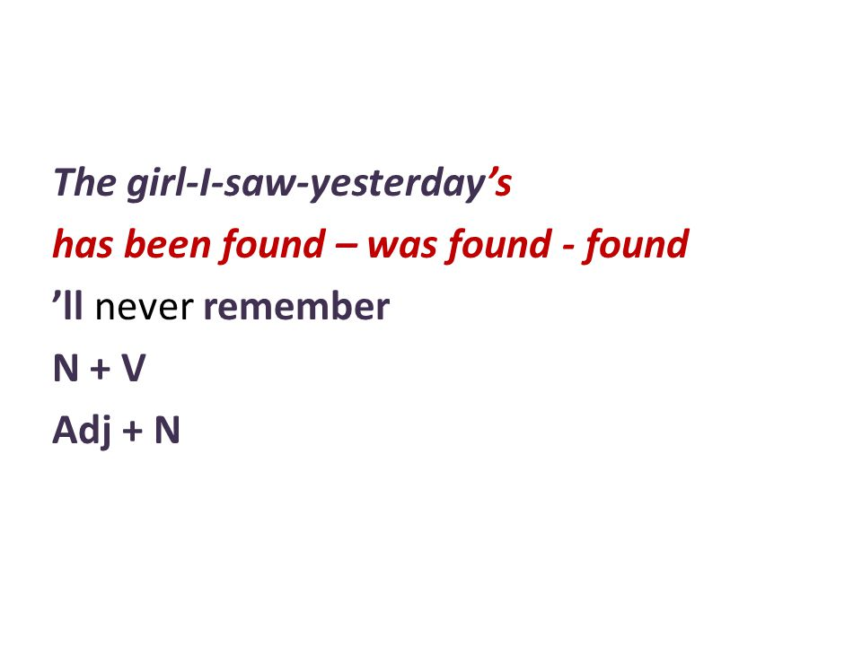The girl-I-saw-yesterday's has been found – was found - found 'll never remember N + V Adj + N