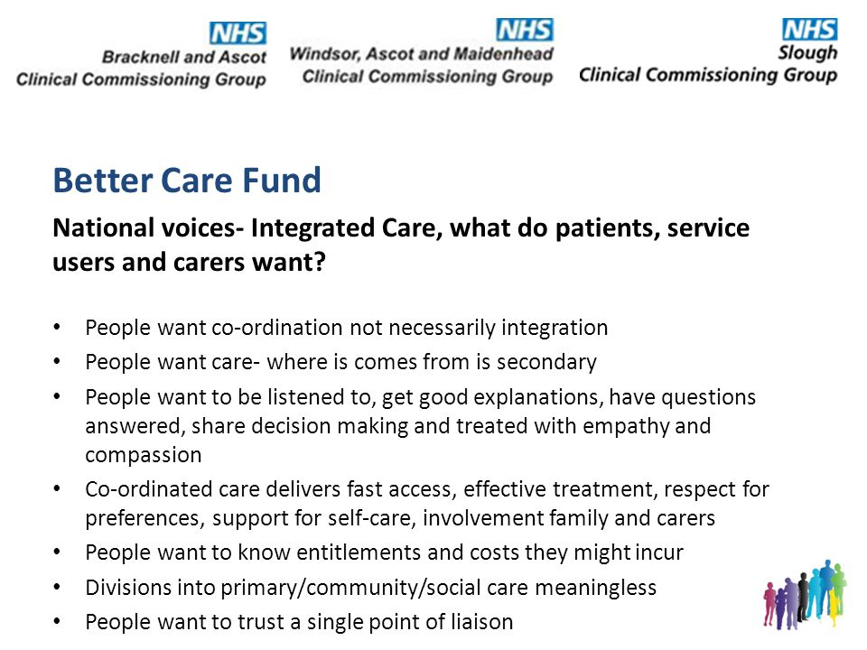 Better Care Fund National voices- Integrated Care, what do patients, service users and carers want.