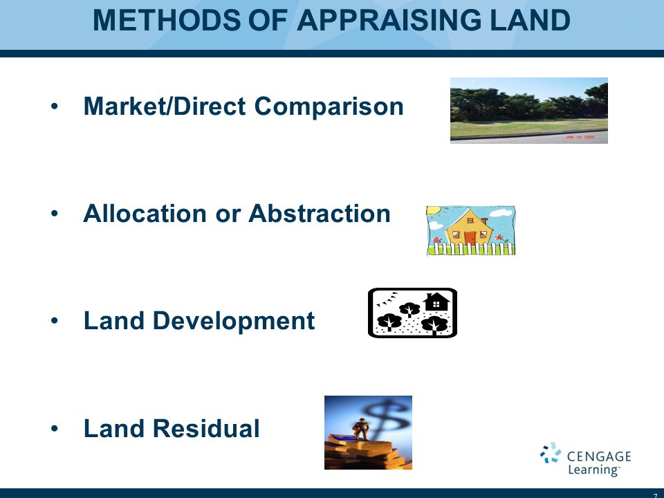 METHODS OF APPRAISING LAND Market/Direct Comparison Allocation or Abstraction Land Development Land Residual 7