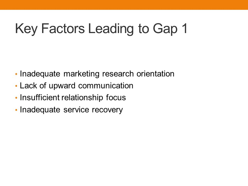 Key Factors Leading to Gap 1 Inadequate marketing research orientation Lack of upward communication Insufficient relationship focus Inadequate service