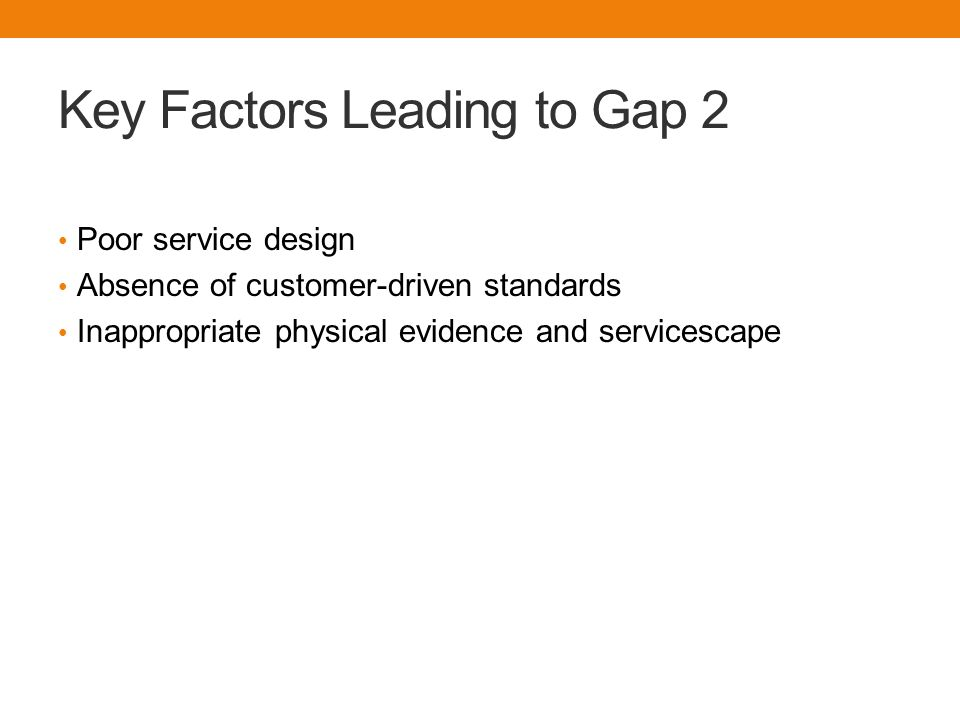 Key Factors Leading to Gap 3  Deficiencies in human resource policies  Customers who do not fulfill roles  Problems with service intermediaries  Failure to match supply and demand