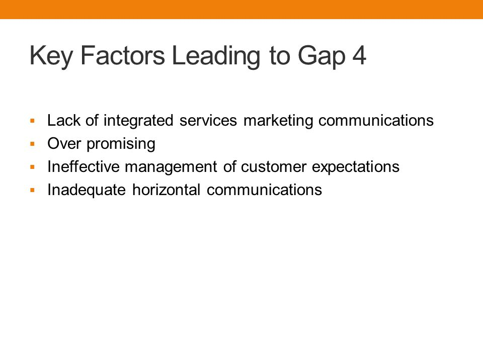 Key Factors Leading to Gap 4  Lack of integrated services marketing communications  Over promising  Ineffective management of customer expectations