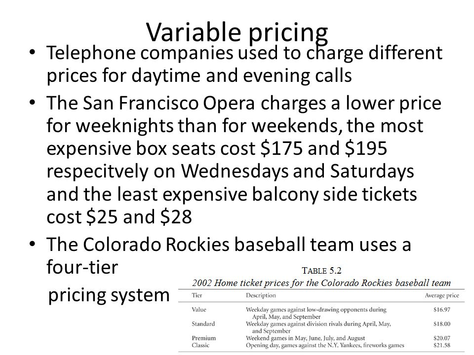 Variable pricing Telephone companies used to charge different prices for daytime and evening calls The San Francisco Opera charges a lower price for weeknights than for weekends, the most expensive box seats cost $175 and $195 respecitvely on Wednesdays and Saturdays and the least expensive balcony side tickets cost $25 and $28 The Colorado Rockies baseball team uses a four-tier pricing system