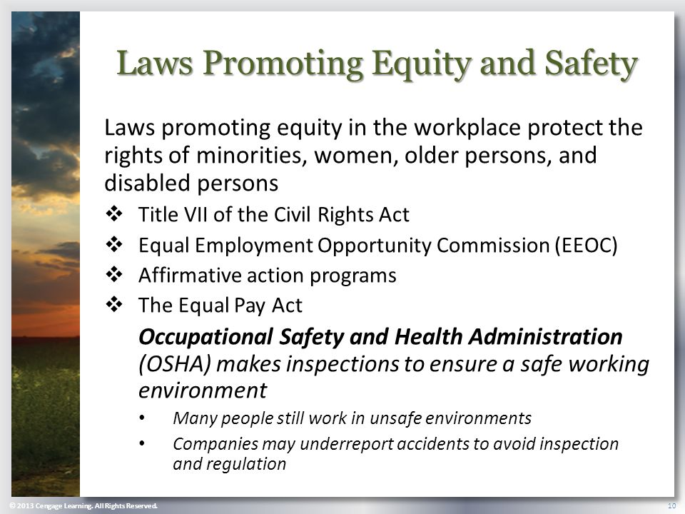 Laws Promoting Equity and Safety Laws promoting equity in the workplace protect the rights of minorities, women, older persons, and disabled persons  Title VII of the Civil Rights Act  Equal Employment Opportunity Commission (EEOC)  Affirmative action programs  The Equal Pay Act Occupational Safety and Health Administration (OSHA) makes inspections to ensure a safe working environment Many people still work in unsafe environments Companies may underreport accidents to avoid inspection and regulation © 2013 Cengage Learning.