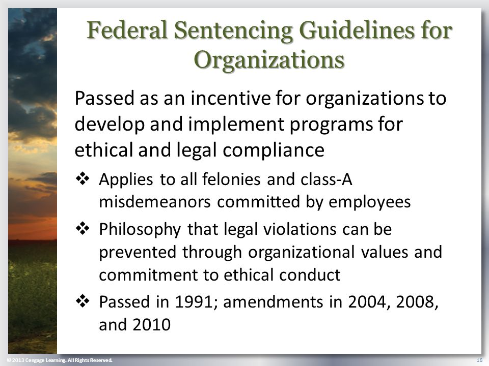 Federal Sentencing Guidelines for Organizations Passed as an incentive for organizations to develop and implement programs for ethical and legal compliance  Applies to all felonies and class-A misdemeanors committed by employees  Philosophy that legal violations can be prevented through organizational values and commitment to ethical conduct  Passed in 1991; amendments in 2004, 2008, and 2010 © 2013 Cengage Learning.
