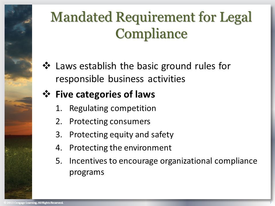 Mandated Requirement for Legal Compliance  Laws establish the basic ground rules for responsible business activities  Five categories of laws 1.Regulating competition 2.Protecting consumers 3.Protecting equity and safety 4.Protecting the environment 5.Incentives to encourage organizational compliance programs © 2013 Cengage Learning.