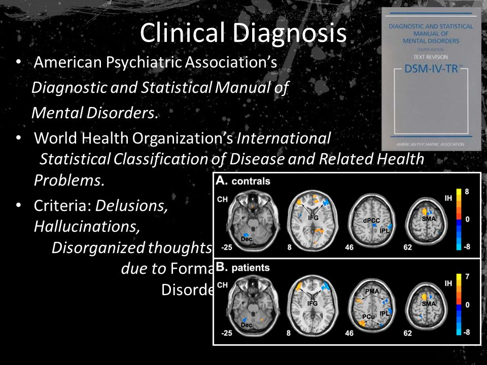 Clinical Diagnosis American Psychiatric Association's Diagnostic and Statistical Manual of Mental Disorders.