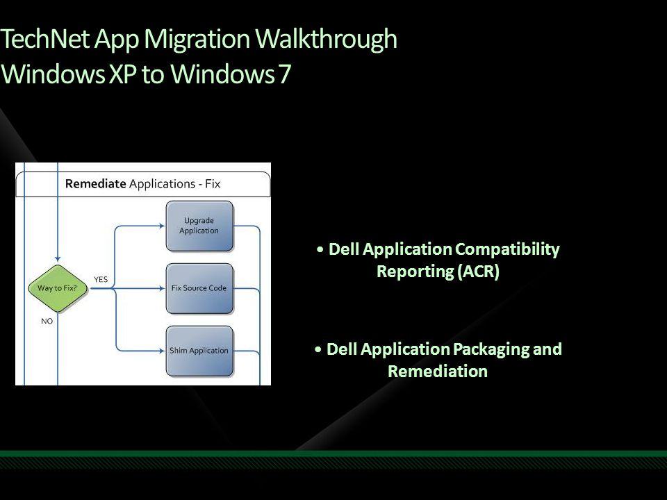 TechNet App Migration Walkthrough Windows XP to Windows 7 Dell Application Compatibility Reporting (ACR) Dell Application Packaging and Remediation