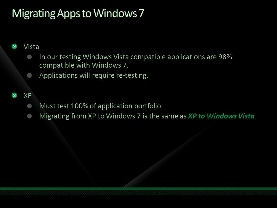 Vista In our testing Windows Vista compatible applications are 98% compatible with Windows 7.