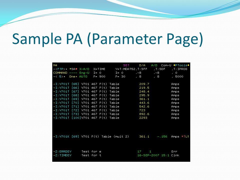 Sample PA (Parameter Page)