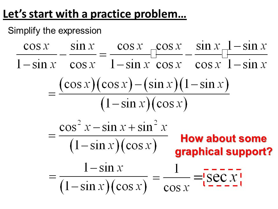 Let's start with a practice problem… Simplify the expression How about some graphical support?