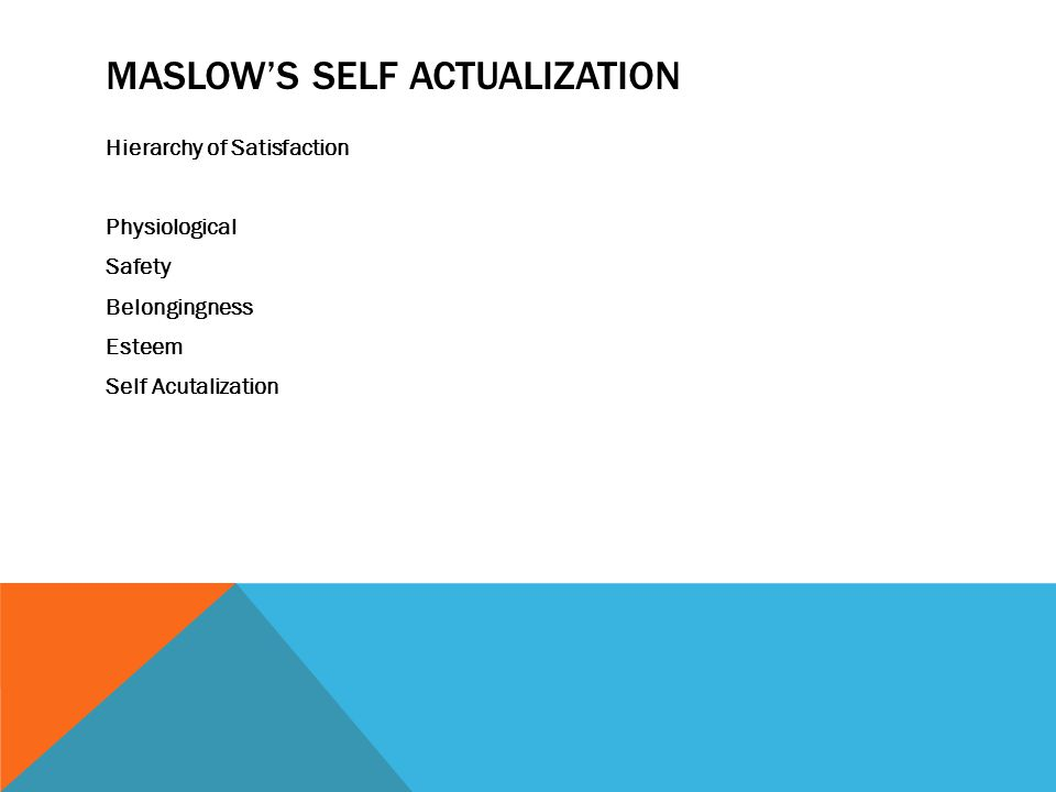 MASLOW'S SELF ACTUALIZATION Hierarchy of Satisfaction Physiological Safety Belongingness Esteem Self Acutalization