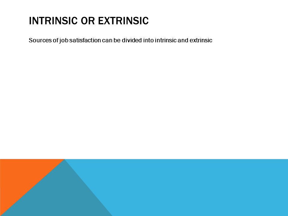 INTRINSIC OR EXTRINSIC Sources of job satisfaction can be divided into intrinsic and extrinsic