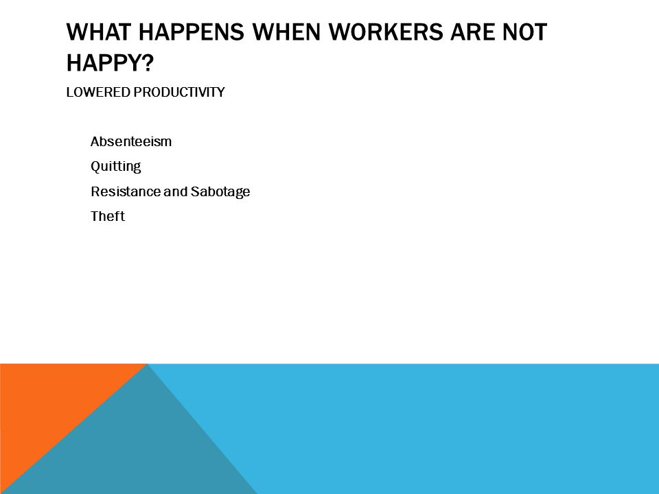 WHAT HAPPENS WHEN WORKERS ARE NOT HAPPY.