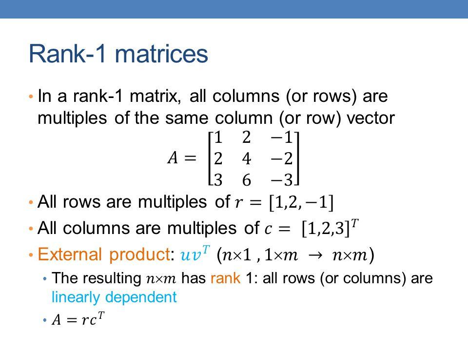 Rank-1 matrices