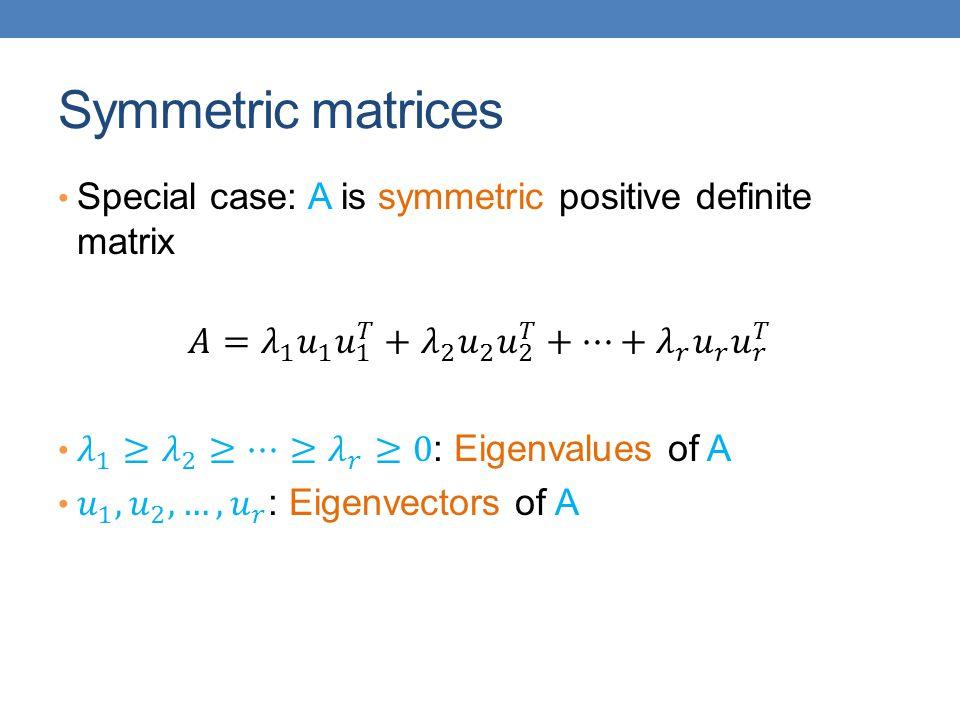 Symmetric matrices