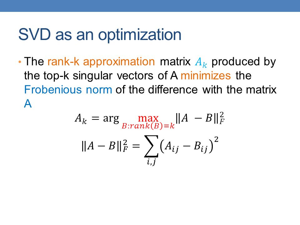 SVD as an optimization