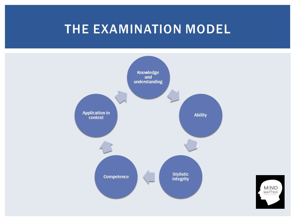 Knowledge and understanding Ability Stylistic integrity Competence Application in context THE EXAMINATION MODEL