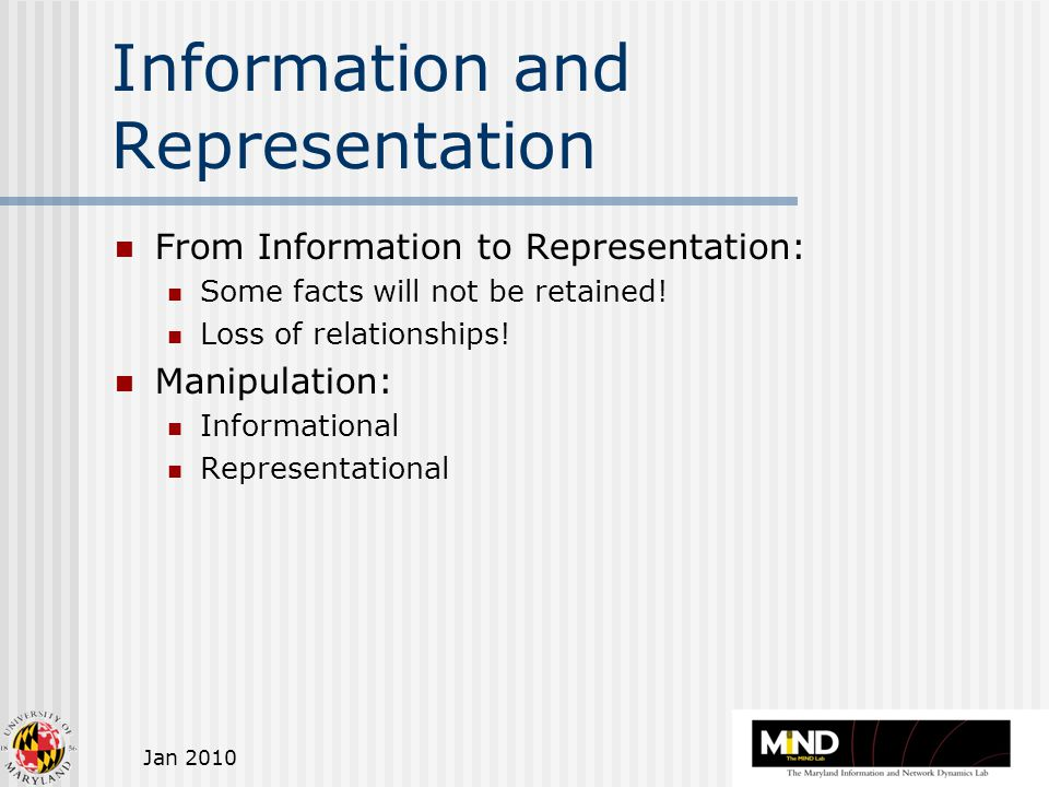 Jan 2010 Information and Representation From Information to Representation: Some facts will not be retained.