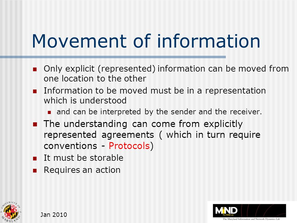 Jan 2010 Movement of information Only explicit (represented) information can be moved from one location to the other Information to be moved must be in a representation which is understood and can be interpreted by the sender and the receiver.
