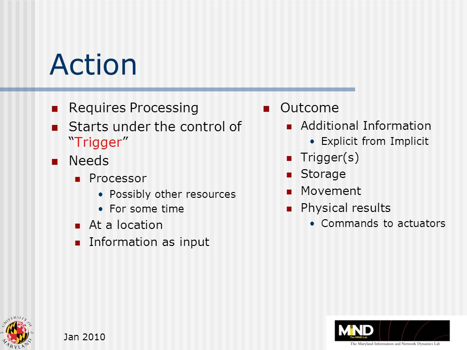 Jan 2010 Action Requires Processing Starts under the control of Trigger Needs Processor Possibly other resources For some time At a location Information as input Outcome Additional Information Explicit from Implicit Trigger(s) Storage Movement Physical results Commands to actuators