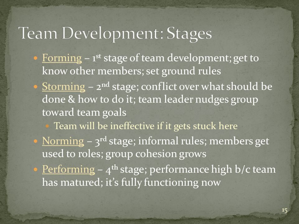 Forming – 1 st stage of team development; get to know other members; set ground rules Storming – 2 nd stage; conflict over what should be done & how t