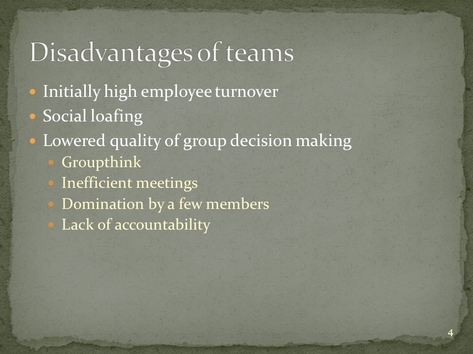Forming – 1 st stage of team development; get to know other members; set ground rules Storming – 2 nd stage; conflict over what should be done & how to do it; team leader nudges group toward team goals Team will be ineffective if it gets stuck here Norming – 3 rd stage; informal rules; members get used to roles; group cohesion grows Performing – 4 th stage; performance high b/c team has matured; it's fully functioning now 15