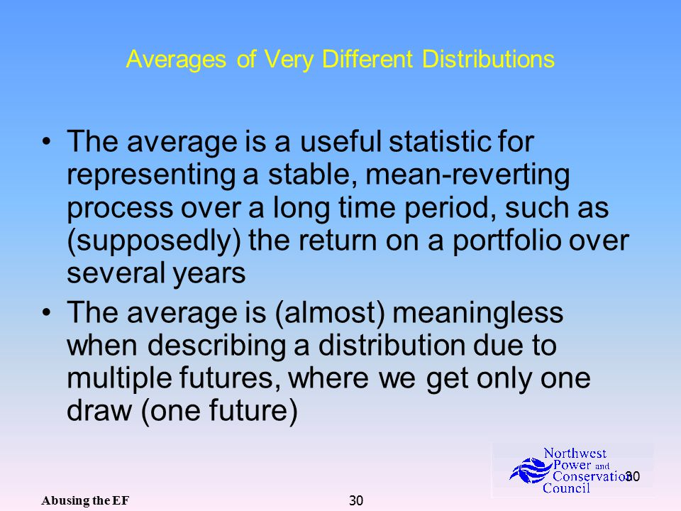 30 Averages of Very Different Distributions The average is a useful statistic for representing a stable, mean-reverting process over a long time period, such as (supposedly) the return on a portfolio over several years The average is (almost) meaningless when describing a distribution due to multiple futures, where we get only one draw (one future) Abusing the EF