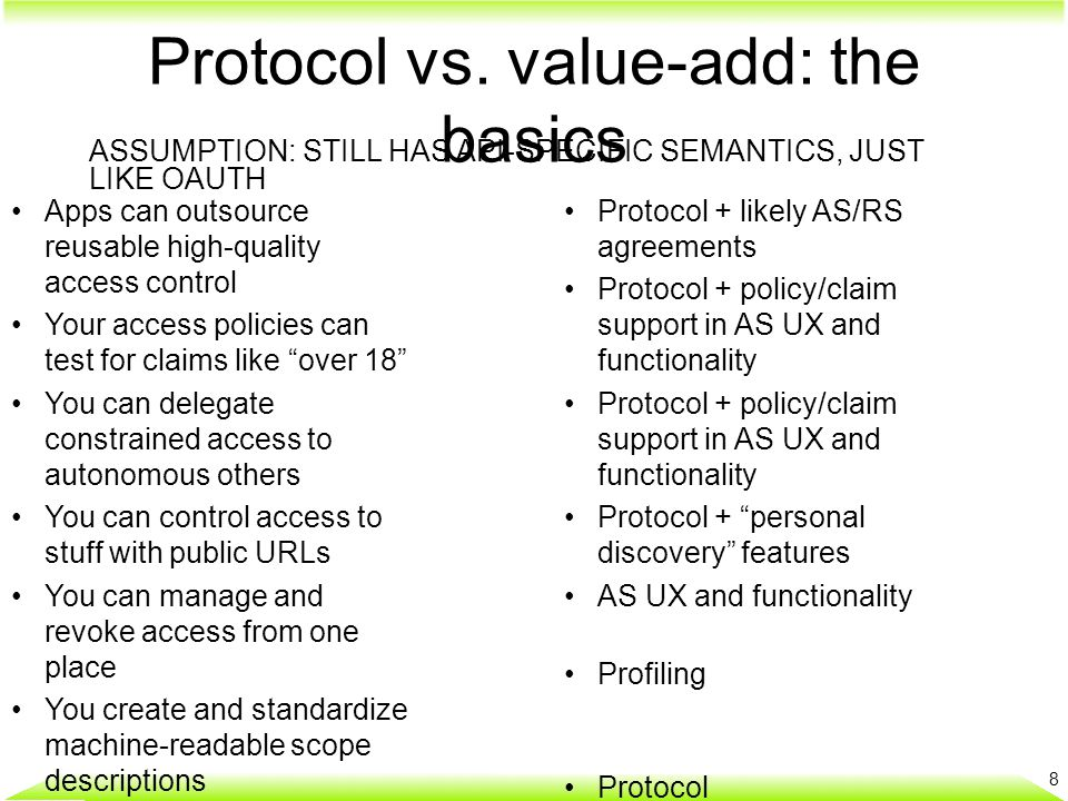 "Protocol vs. value-add: the basics 8 Apps can outsource reusable high-quality access control Your access policies can test for claims like ""over 18"" Y"